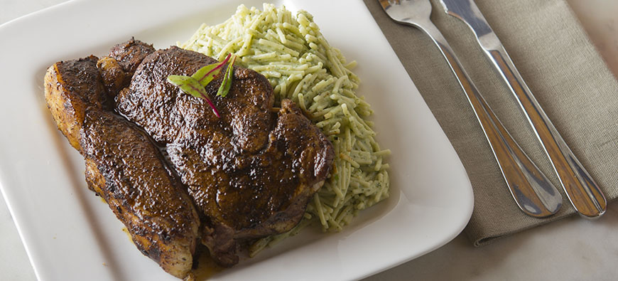 Rib-eye in Coffee & Chili Rub with Fideos in Yogurt & Cilantro Sauce